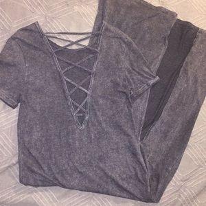Topshop Grey T-shirt dress maxi front slit so 8 M